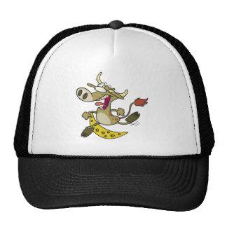 funny cow jumping over moon cartoon trucker hat