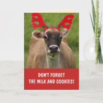 Funny Cow Milk And Cookies Christmas Card