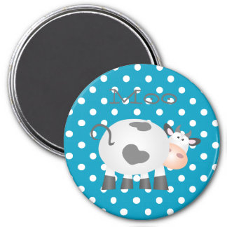 Funny Cow Moo And White Polka Dot Pattern Magnet