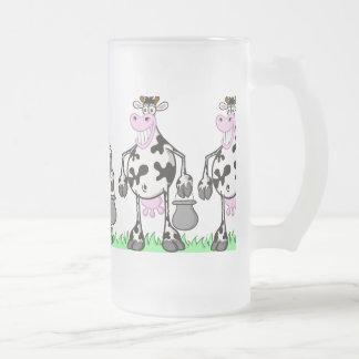 """FUNNY COW """"MUG"""" FROSTED GLASS BEER MUG"""