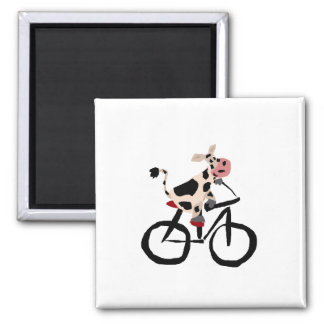 Funny Cow on Bicycle 2 Inch Square Magnet
