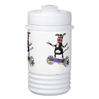 Funny Cow on Hoverboard Art Cooler