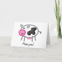Funny Cow on White Card
