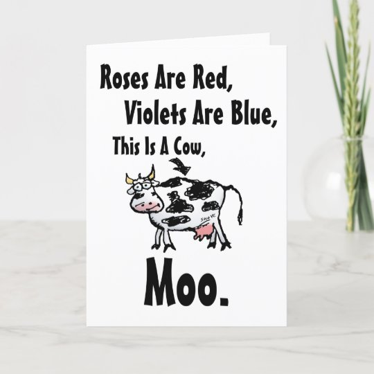 Funny Cow Poem Birthday Card Zazzle Com