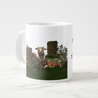 "Funny Cow Pun ""Something in the way she moos.."" Giant Coffee Mug"