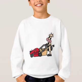 Funny Cow Pushing Red Lawn Mower Cartoon