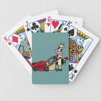 Funny Cow Pushing Red Lawn Mower Cartoon Bicycle Playing Cards