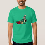 Funny Cow Pushing Red Lawn Mower Cartoon Shirt