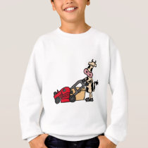 Funny Cow Pushing Red Lawn Mower Cartoon Sweatshirt
