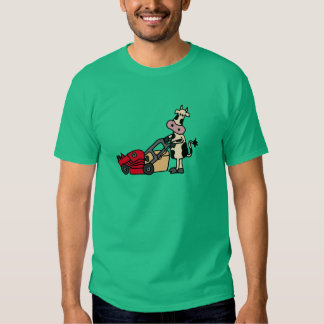 Funny Cow Pushing Red Lawn Mower Cartoon T-Shirt