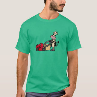 Funny Cow Pushing Red Lawn Mower Cartoon T-Shirt