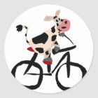 Funny Cow Riding Bicycle Art Classic Round Sticker