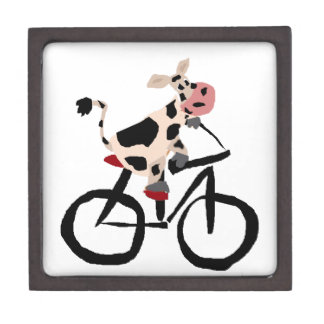 Funny Cow Riding Bicycle Art Gift Box