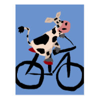 Funny Cow Riding Bicycle Art Postcard