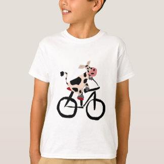 Funny Cow Riding Bicycle Art T-Shirt