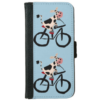 Funny Cow Riding Bicycle Art Wallet Phone Case For iPhone 6/6s