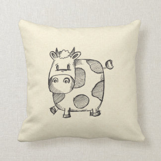 Funny Cow Sketch Pillow