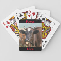 Funny Cow Sticking Out Tongue Poker Face Humorous Playing Cards