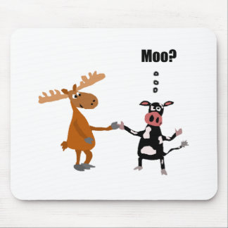 Funny Cow Talking to Moose Art Mouse Pad