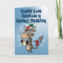Funny Cow Udderly Delightful Christmas Card