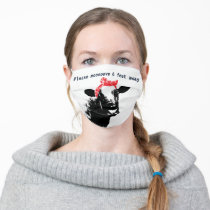 Funny Cow Wearing a Red Bandana Cloth Face Mask