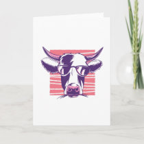 Funny Cow wearing Glasses Farmer Gift Card