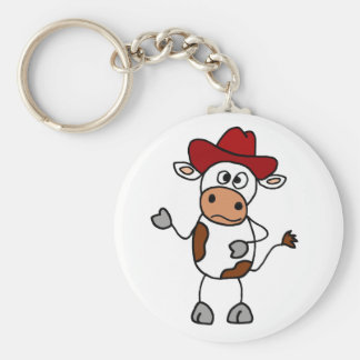 Funny Cow Wearing Red Cowboy Hat Keychain