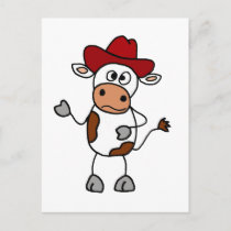 Funny Cow Wearing Red Cowboy Hat Postcard