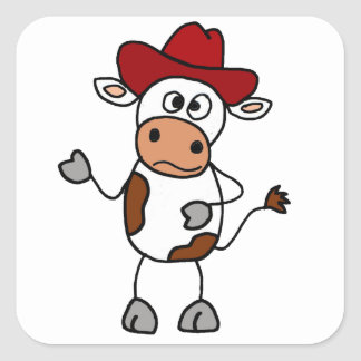 Funny Cow Wearing Red Cowboy Hat Square Sticker