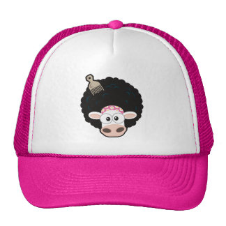 Funny Cow with an Afro and Comb Trucker Hat