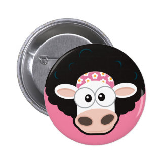 Funny Cow with an Afro and Comb on Pink Button