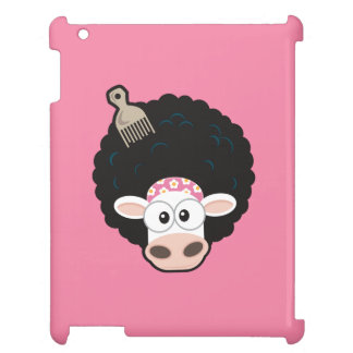 Funny Cow with an Afro and Comb on Pink iPad Covers
