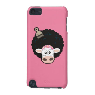 Funny Cow with an Afro and Comb on Pink iPod Touch 5G Cover