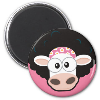 Funny Cow with an Afro on Pink Fridge Magnet