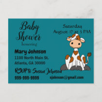 Funny Cow with Heart Spots Baby Shower Invitation Postcard