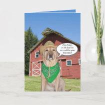 Funny Cowboy Dog/Lab Valentine Holiday Card