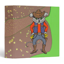 Funny Cowboy Mouse 3 Ring Binder