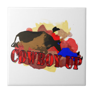 Funny Cowboy Up T-shirts & Gifts Ceramic Tiles