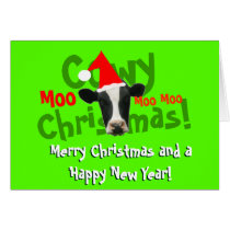 Funny Cowy Christmas Santa Cow Card