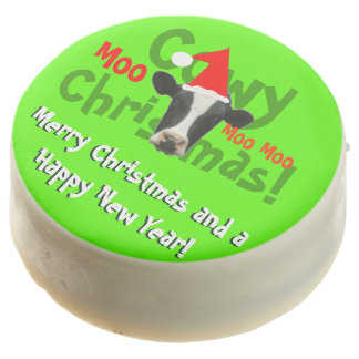 Funny Cowy Christmas Santa Cow Chocolate Dipped Oreo