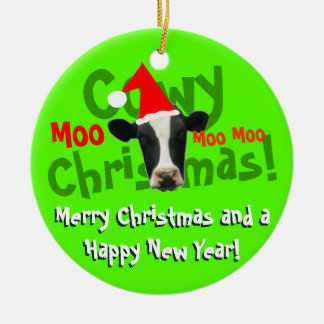 Funny Cowy Christmas Santa Cow Double-Sided Ceramic Round Christmas Ornament
