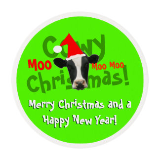 Funny Cowy Christmas Santa Cow Edible Frosting Rounds