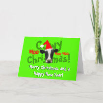 Funny Cowy Christmas Santa Cow Holiday Card