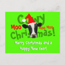 Funny Cowy Christmas Santa Cow Holiday Postcard