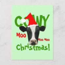 Funny Cowy Christmas Santa Cow Postcard
