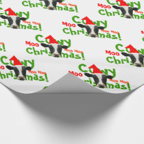 Funny Cowy Christmas Santa Cows Pattern Wrapping Paper