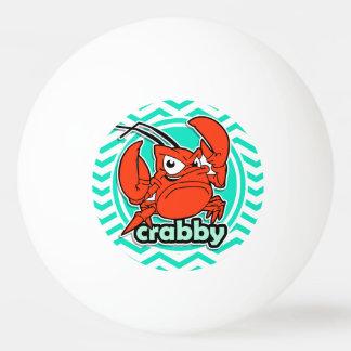 Funny Crab; Aqua Green Chevron Ping Pong Ball
