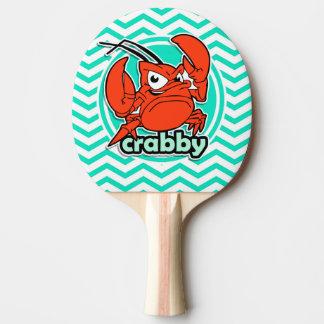 Funny Crab; Aqua Green Chevron Ping-Pong Paddle