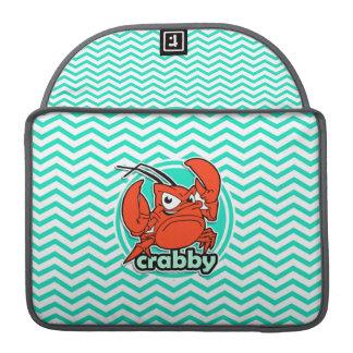 Funny Crab; Aqua Green Chevron Sleeves For MacBook Pro