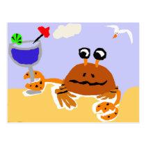 Funny Crab at the Beach Art Postcard